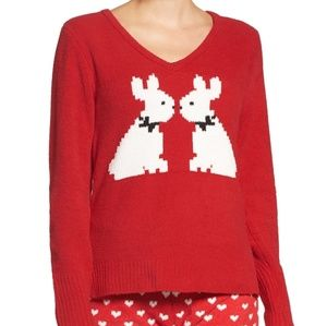 Betsey Johnson Cozy Red Plush Bunny Sweater